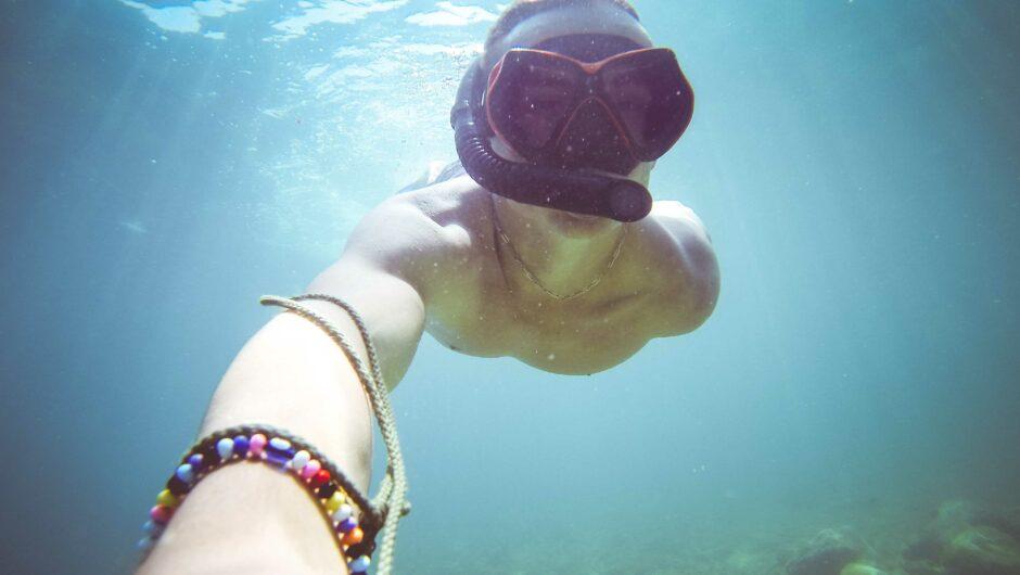 Underwater Diving/Snorkeling Selfie in The Sea